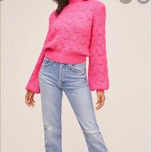 ASTR Wool Blend Pointelle Bishop Sleeve Sweater